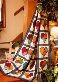 Crochet Crazy Quilt Mended Hearts Afghan Pattern