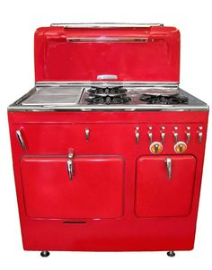 Considered the Cadillac of stoves, this 1949 Chambers C-90 has its original Freedom Red paint, pop-up broiler, childproof handles, and hidden slow cooker. The C model was popular from the late 1940s through the late 1950s.