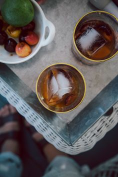 bourbon smushed with cherries, lime + maple syrup // the first mess