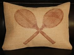 Vintage Tennis Rackets  Burlap Decorative Pillow Sports Tennis on Etsy, $22.95