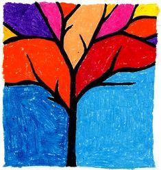 silhouett, winter art, kid art projects, negative space, abstract tree, cardboard art, tree art, fall trees, oil pastels