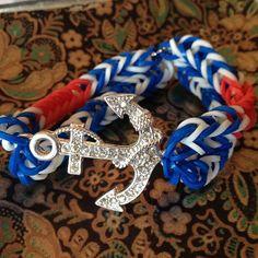 Sailor Theme Rubberband Bracelet with Rhinestone by DeHookedHart, $6.00