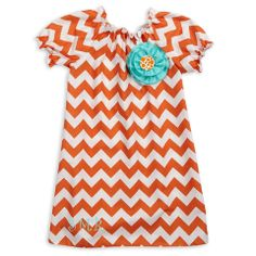 Orange White Chevron Charlotte Dress – Lolly Wolly Doodle