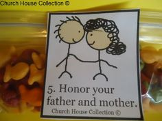 "Church House Collection Blog: Ten Commandments Snacks- ""Honor Thy Father and Mother"" Snack Idea For Sunday School"