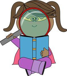Superhero girl reading from MyCuteGraphics