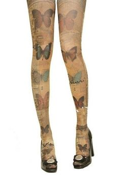 Butterfly  Gipsy Mock Knee High Hosiery Pantyhose Tattoo by Mixty, $10.99
