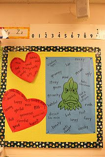 Grinch- adjectives and compare and contrast from beginning and end of story