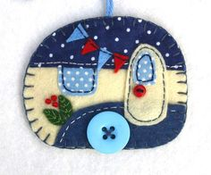Felt Trailer Christmas Ornament, Caravan Ornament