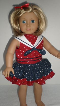American Girl Red White & Blue Ruffled Skirt  18 by dollupmydoll, $11.00
