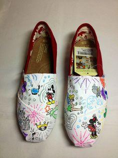 Custom Painted Dooney & Bourke Inspired Disney sketch TOMS shoes