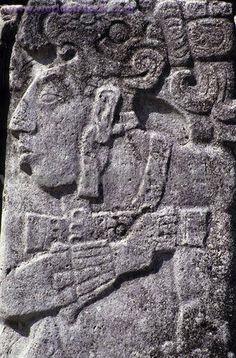 : Mexico Chiapas State Palenque The Palace Fresco Of A Mayan Warrior Carved,