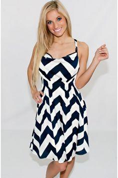 Style Me Pretty Chevron Dress In Navy