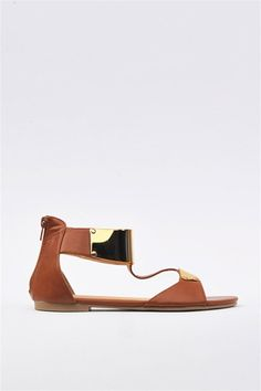 Tan sandals with metallic detail