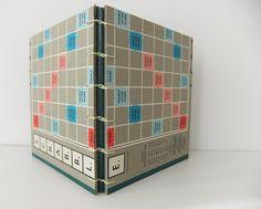 Scrabble notebook, handmade Scrabble Journal, hand sewn journal. £15.00, via Etsy.  from peonyandthistle