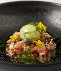 Raw trout and avocad
