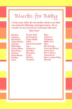 Free Baby Shower Candy Bar Game called BLURBS FOR BABY