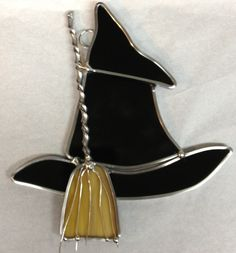 Handcrafted Stained Glass Witch Hat with Broom by craftycleo, $15.00