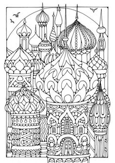 Russian Tower Coloring Page: Winter Olympic Crafts for Kids. #StayCurious colour, russian kid crafts, towers, russian crafts for kids, russian kids crafts, doodle art coloring pages, coloring books, russian art for kids, russian crafts kids