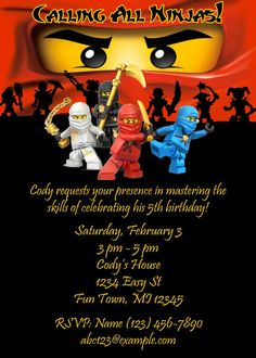 Printable Lego Ninjago Birthday Party Invite!