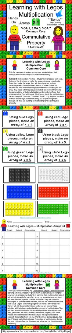 Learning with Legos - Multiplication x4 ***BONUS INCLUDED*** Skip Counting Independent Practice: Common Core - 3.OA.1, 3.OA.5, 3.OA.7. (Legos not included) GREAT for Small Group or RTI. Includes: EQ Poster, Standards Poster, Important Reminders, 12 Lego Multiplication Task Cards for x3, facts, 12 Lego Brick Cards for x3 facts, 3 Activity Direction Pages - Independent and Partner, Student Recording Sheet, Answer Key. GREAT for MATH STATIONS!!! legos education, lego multiplication, lego classroom ideas