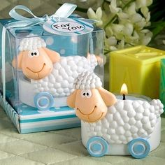 Baby Shower Favor Blue Toy Sheep Candle