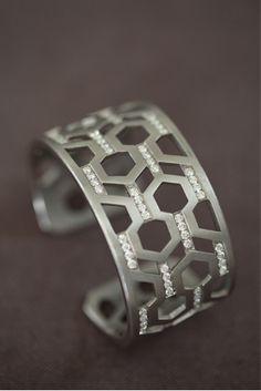 India Hicks Silver and Diamond Hexagon Cuff