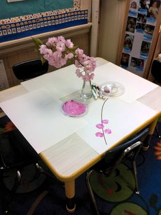 A simple but inviting spring blossoms provocation. {from Provocations and Play}