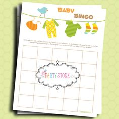 Baby Shower Games, Bingo Game For Boy or Girl, PRINTABLE, DIY, You Print, Baby Laundry, Unisex. $5.99, via Etsy.