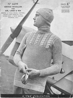 Patons #6699 Service woollies for Air land and sea british hand, hand knitting, knitting patterns, knit meknit, vintag knit, pattern 1940, knit etcetcetc, crochet knitshat, knit pattern