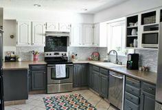 Gray and white kitchen-love it!!