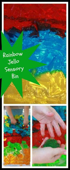 RAINBOW Jello Sensory Bin - Awaken the senses through messy play.  Edible play safe for young toddlers.  Watch as the colors blend together.  Finish play time with a treat!