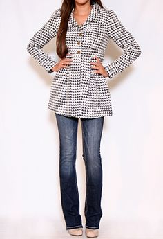 Single Breasted Houndstooth Coat!! Cute!!