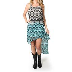 Angie Women's Racerback Aztec Print High-Low Dress/Tunic