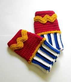 Power Wristies. Wonder Woman Inspired Wristwarmers. Superhero Fingerless Gloves. Crochet Justice League DC Comics Accessory. Cosplay.. $45.00, via Etsy.  (pinned for the day I figure out how to decipher patterns for myself)