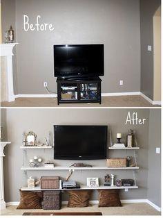 DIY Living Room Media Shelves. LOVE