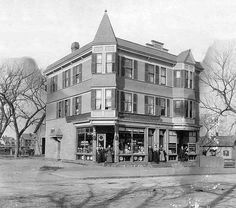O'Connell building, a three story tenement building, c1895, with ground level storefronts at 399 Market St at the corner of Surrey St and opposite Henshaw St.  The O'Connell building was built on land that formed part of the eleven acre grounds of the Brighton Stockyards that stretched behind Brighton's largest hotel, the famous Cattle Fair.  399 Market St was built by James O'Connell, who established a plumbing business in one of its storefronts. (Massachuseetts)