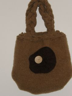Beige colored Felted purse with a large Brown Buttoned Flower