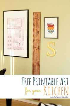 Learn how to make this kitchen wall art, plus a free printable by Just-Between-Friends.com