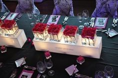 "Pink Pavéed Roses in 6"" Glass Cubes on 36"" Acrylic Light Boxwith custom logo"