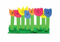 I Love You paper flowers