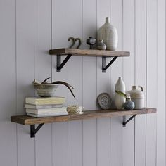 Shelves made from salvaged boards.