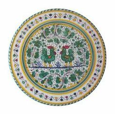 """CAKE PLATE: GALLO VERDE: 13.5"""" (34cm) Diameter.    The Gallo (Rooster) pattern is a relatively new design delveloped in the 19th century & initially painted only in green. Based on 13th & 14th century green & white designs, ceramicists modernized the vegetal motifs adding the rooster. Today Sabbia Talenti offers the Gallo dinnerware pattern in Red and Blue as well as traditional Green. Sabbia Talenti recommends mixing the colors for the most effect.    This Piece is hand painted in Deruta."""