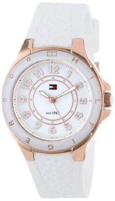 Tommy Hilfiger Women's 1781275  Sport White Silicon Rose Gold Watch $78.15