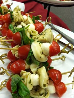 Basil Tortellini Caprese Skewers....perfect party finger food!  (I did them without the tortellini though). They are perfection!! finger appetizers, tortellini caprese skewers, parties finger, finger foods party, finger food appetizers, party finger foods, party finger food recipes, shower finger foods, food skewers