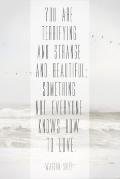 'You are terrifying, and strange, and beautiful; something not everyone knows how to love' - Warsan Shire.