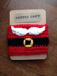 Crochet Santa Coffee Cozy by ThreeRingDesigns on Etsy, $8.00