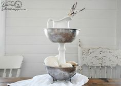 Tiered Metal Stand - Created from Vintage Kitchen Colanders and Headboard Spindle ~~~via knickoftimeinteri...