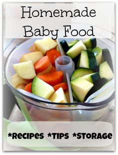 All about making your own baby food!  Recipes, tips, and how to store it!