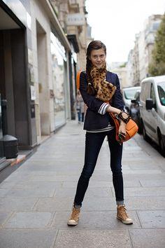 skinny jeans, sneakers, striped top, blazer