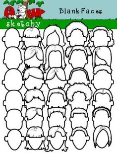 Blank Faces Clipart / Graphics from Sketchy Guy on TeachersNotebook.com -  (60 pages)  - Blank Faces Clipart / Graphics  Blank Face Clip art / Graphic  Included are 30 Black Lined, PNG/Transparent Clipart.  Included are 30 White with Transparent Background Items.  60 Items Total.